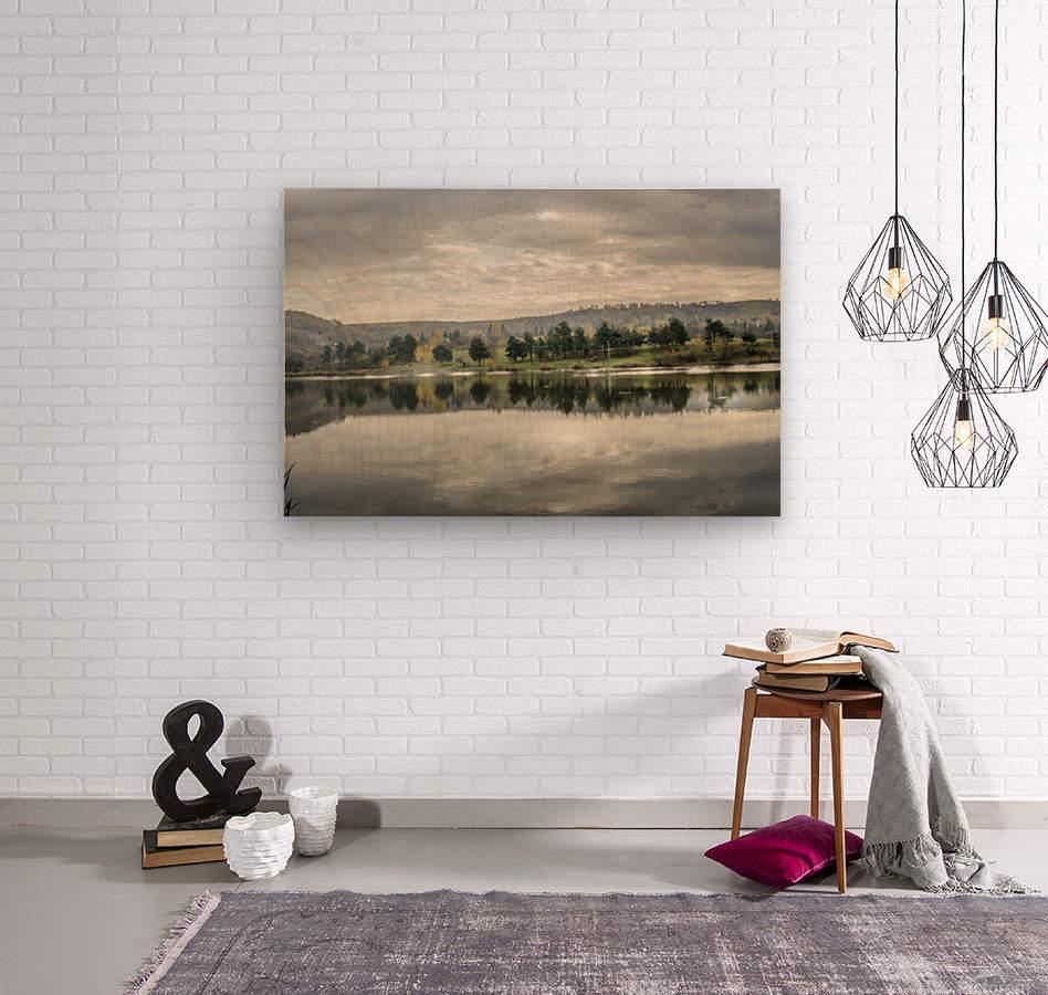 Autumn Lake Reflections  Wood print