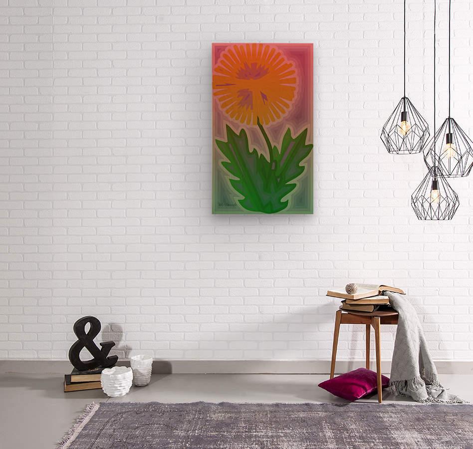 Abstract Dandelion  Wood print