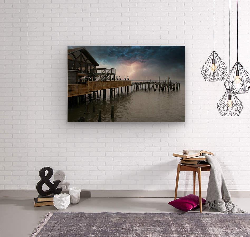 Lightning over Pier  Wood print