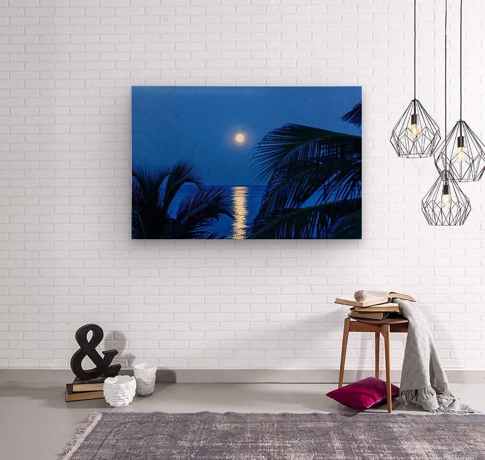 Moon rise at Cayman Kai  Wood print