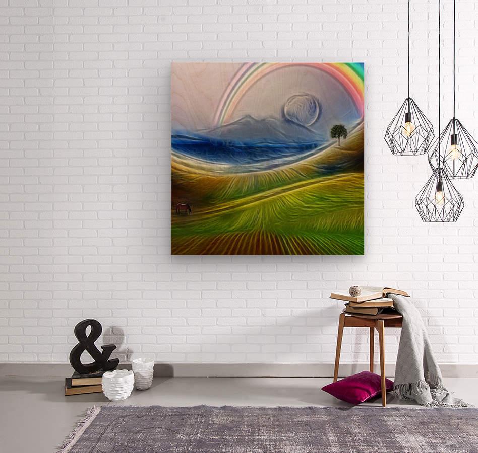 Painterly Peaceful Landscape  Wood print