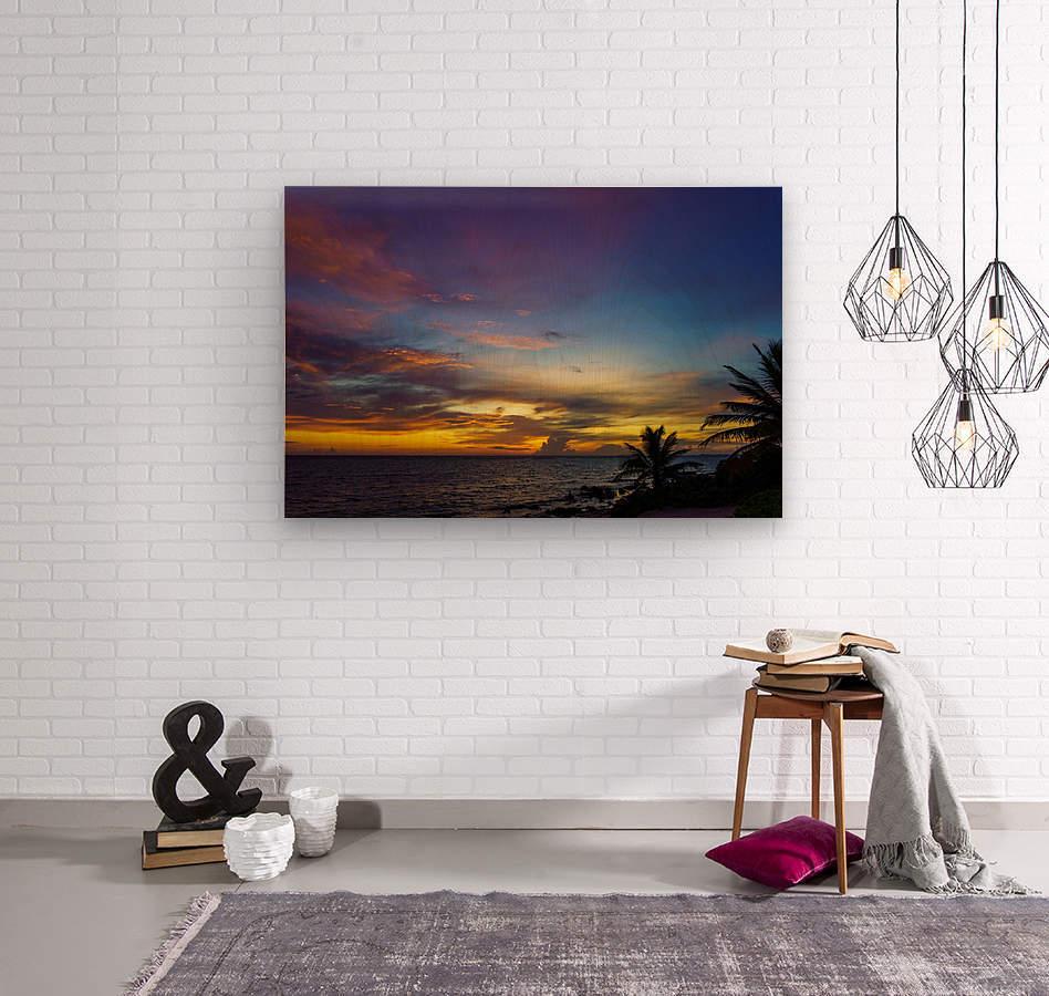 Colorful Caribbean Sky at Grand Cayman  Wood print