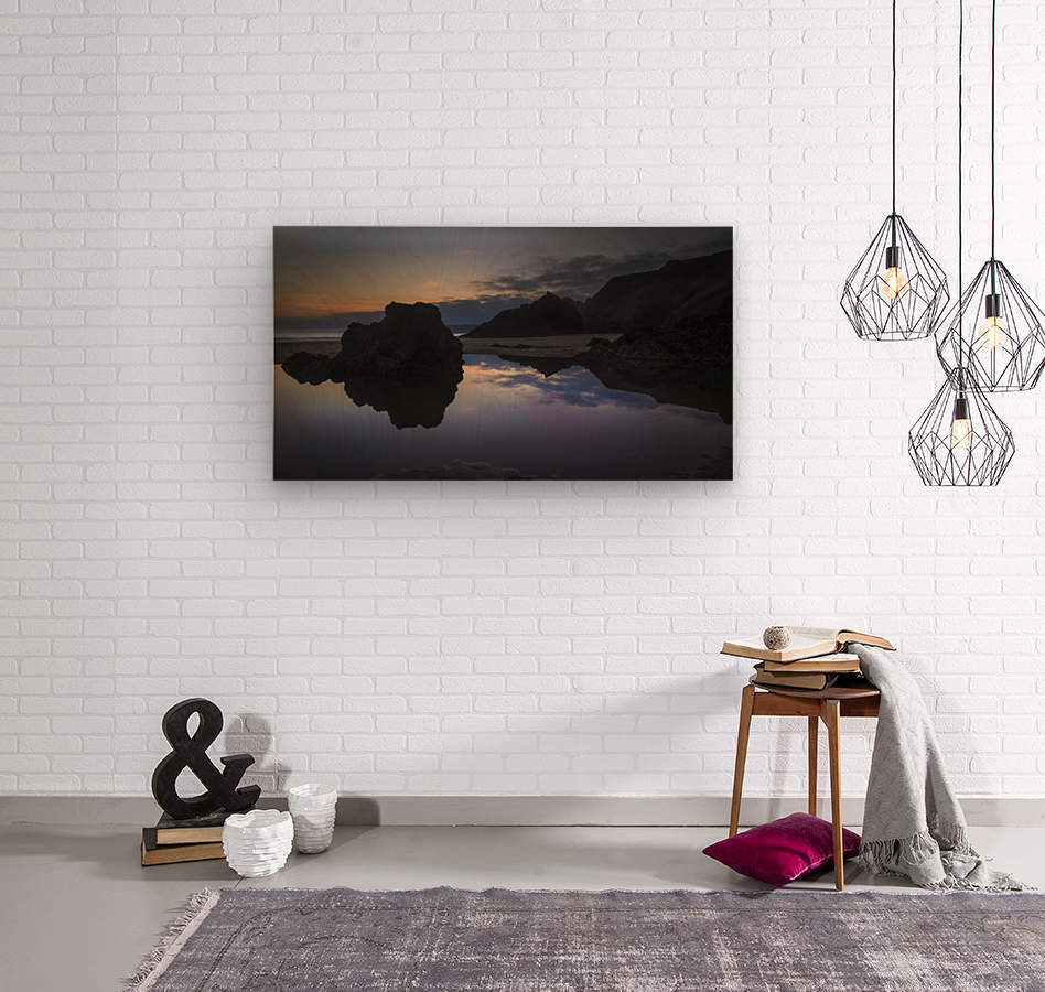 Rockpool reflections at sunset  Wood print