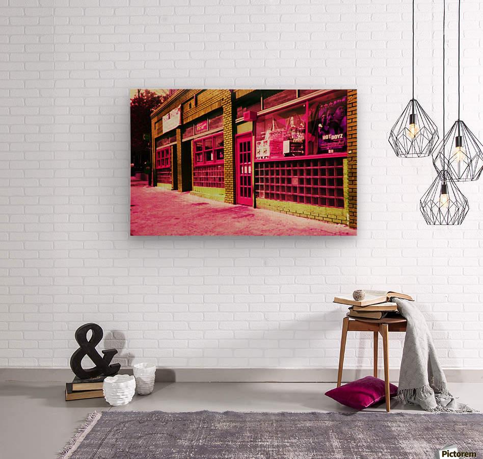 Atlanta Street Scene -- Red  Wood print