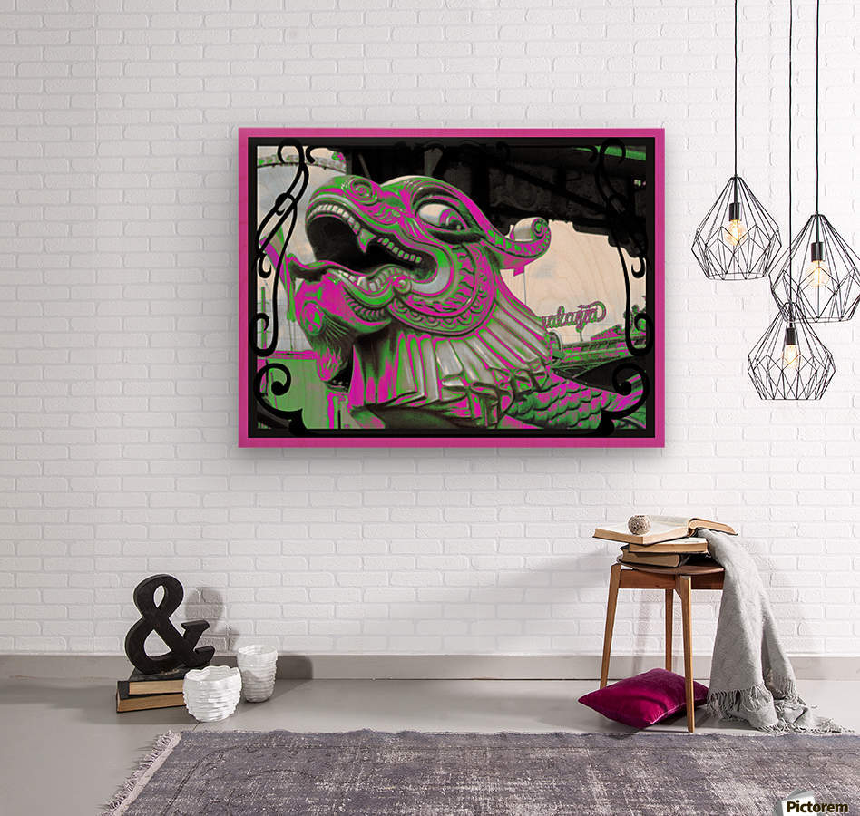Carnival Creature in Purple & Green  Wood print