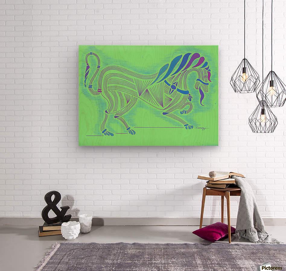 RARIN' TO GO--Blue on Green  Wood print