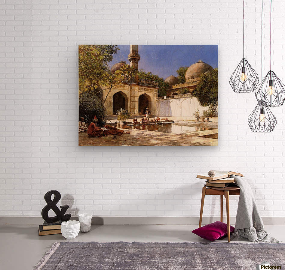 Figures in the Courtyard of a Mosque  Wood print