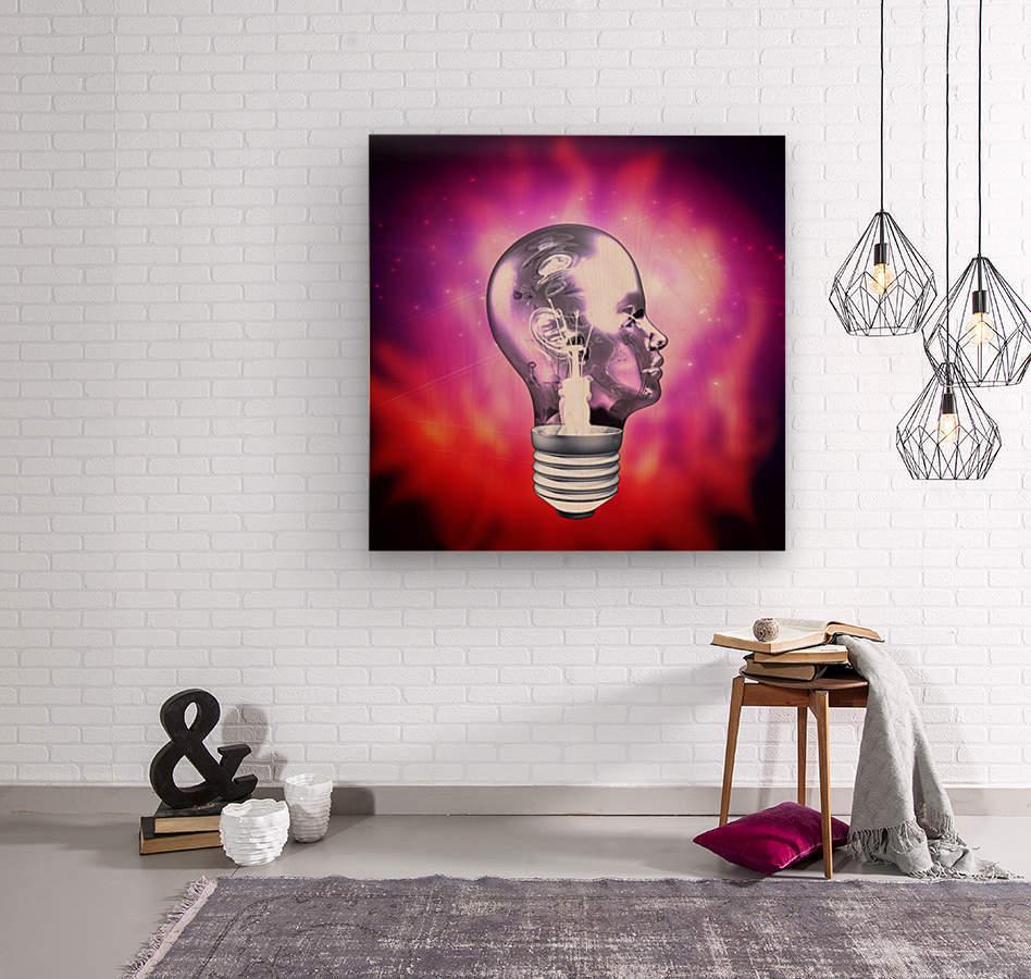 Human Light Bulb Head  Wood print