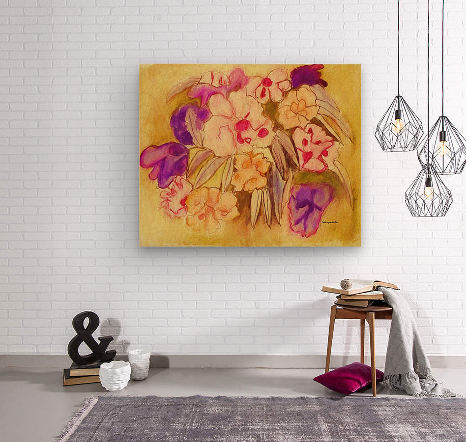 Floral pansies  Wood print