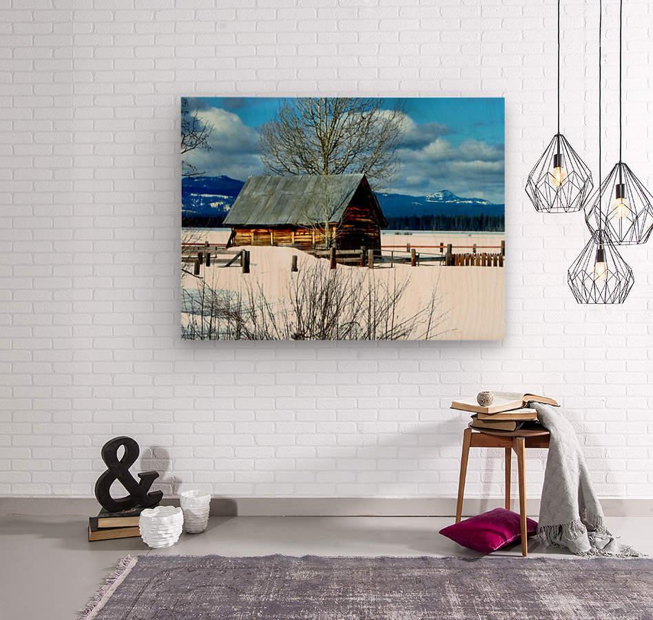 Winter Homestead   Wood print