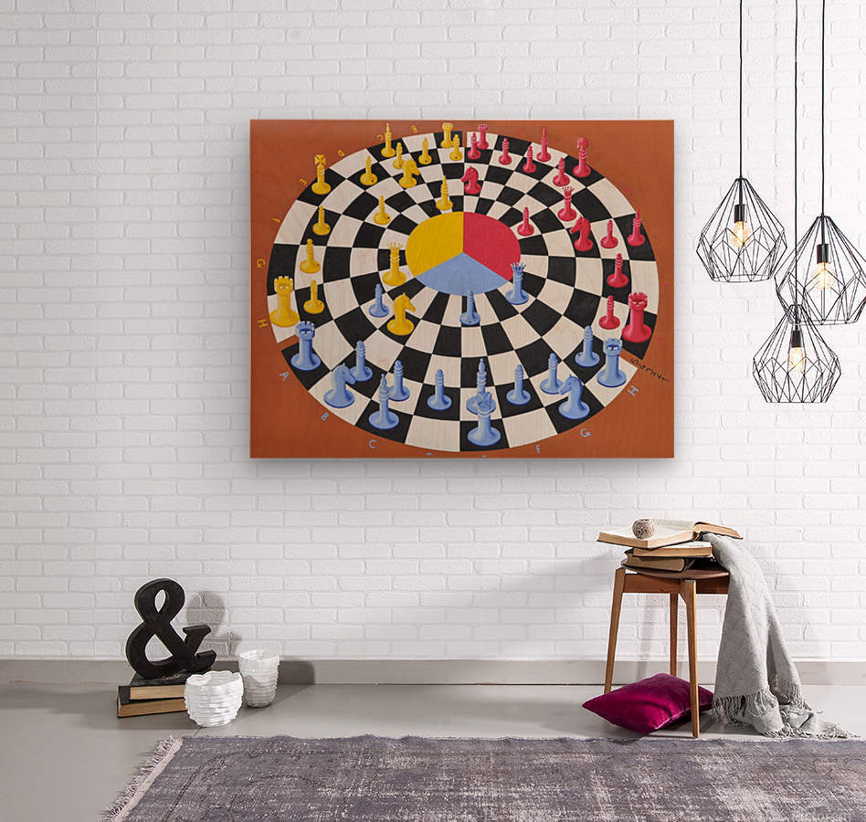 Chess-3-bounce  Wood print