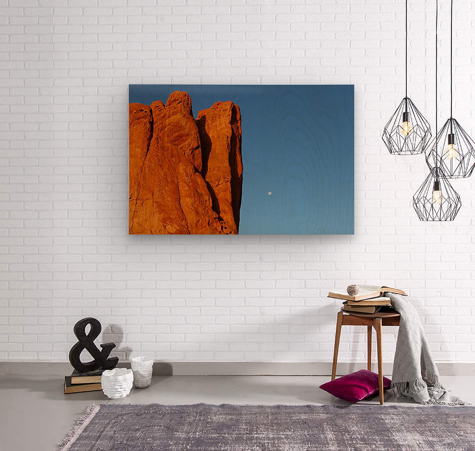 Red Rock and the Moon-BDR4129  Wood print