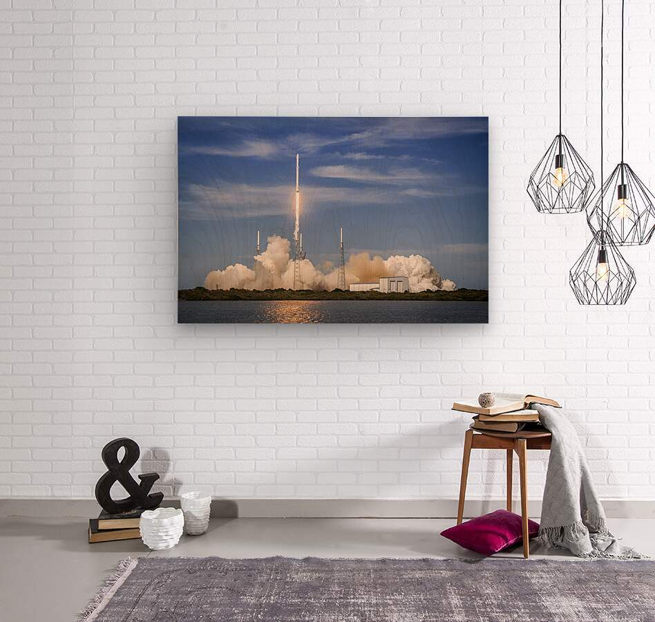 Falcon 9 Lifts Off from Space Launch Complex 40  Wood print