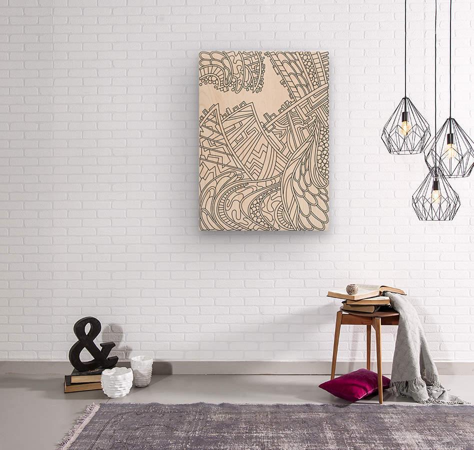 Wandering Abstract Line Art 01: Black & White  Wood print