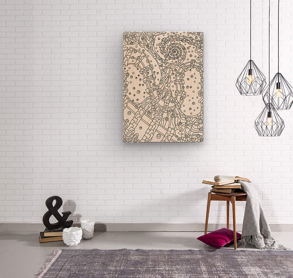 Wandering Abstract Line Art 02: Black & White  Wood print