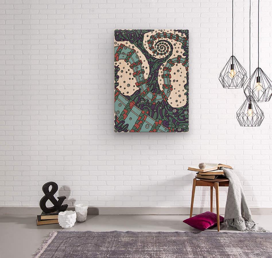 Wandering Abstract Line Art 02: Blue  Wood print