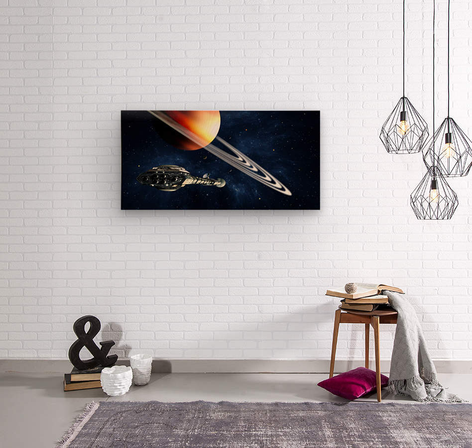 Saturn Fly-By  Wood print