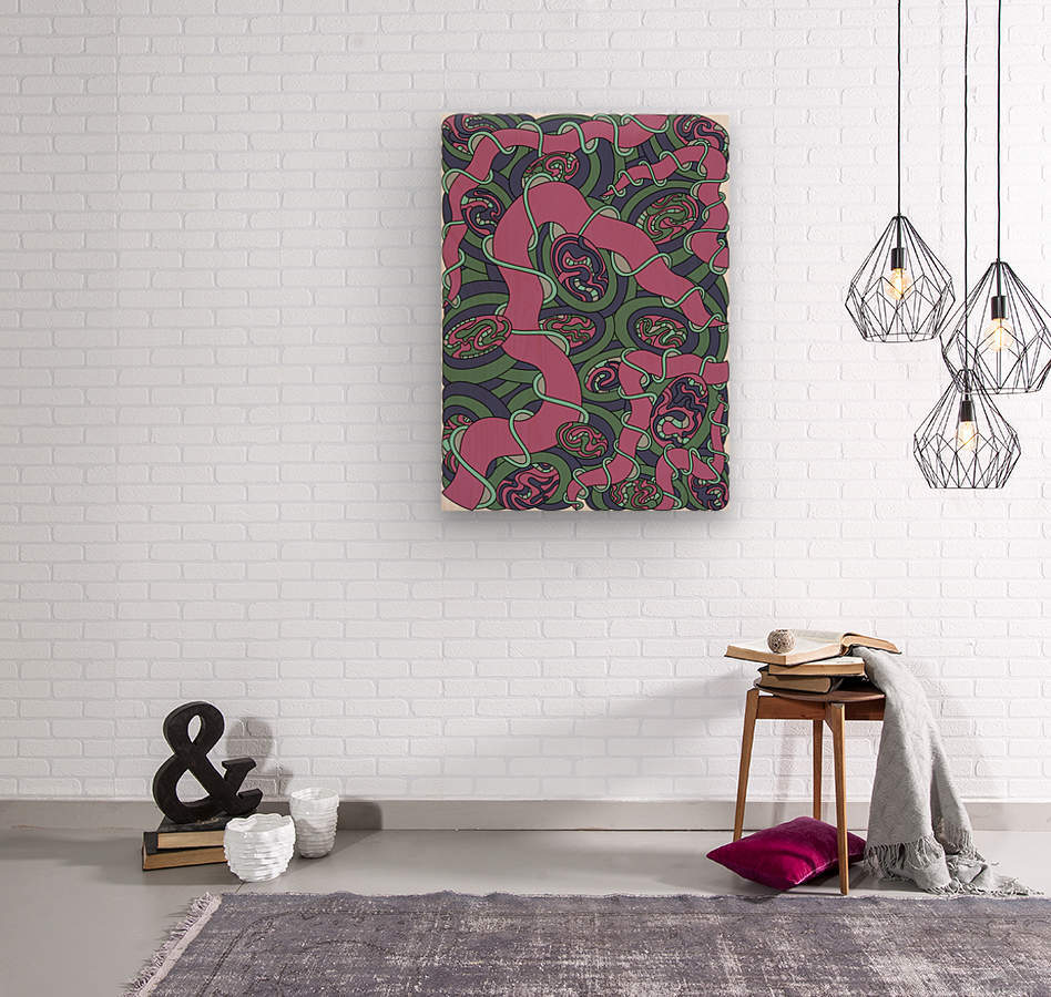 Wandering Abstract Line Art 04: Pink  Wood print