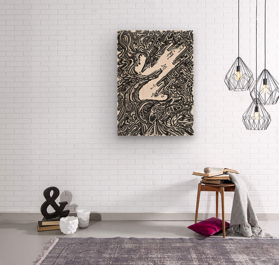 Wandering Abstract Line Art 05: Grayscale  Wood print