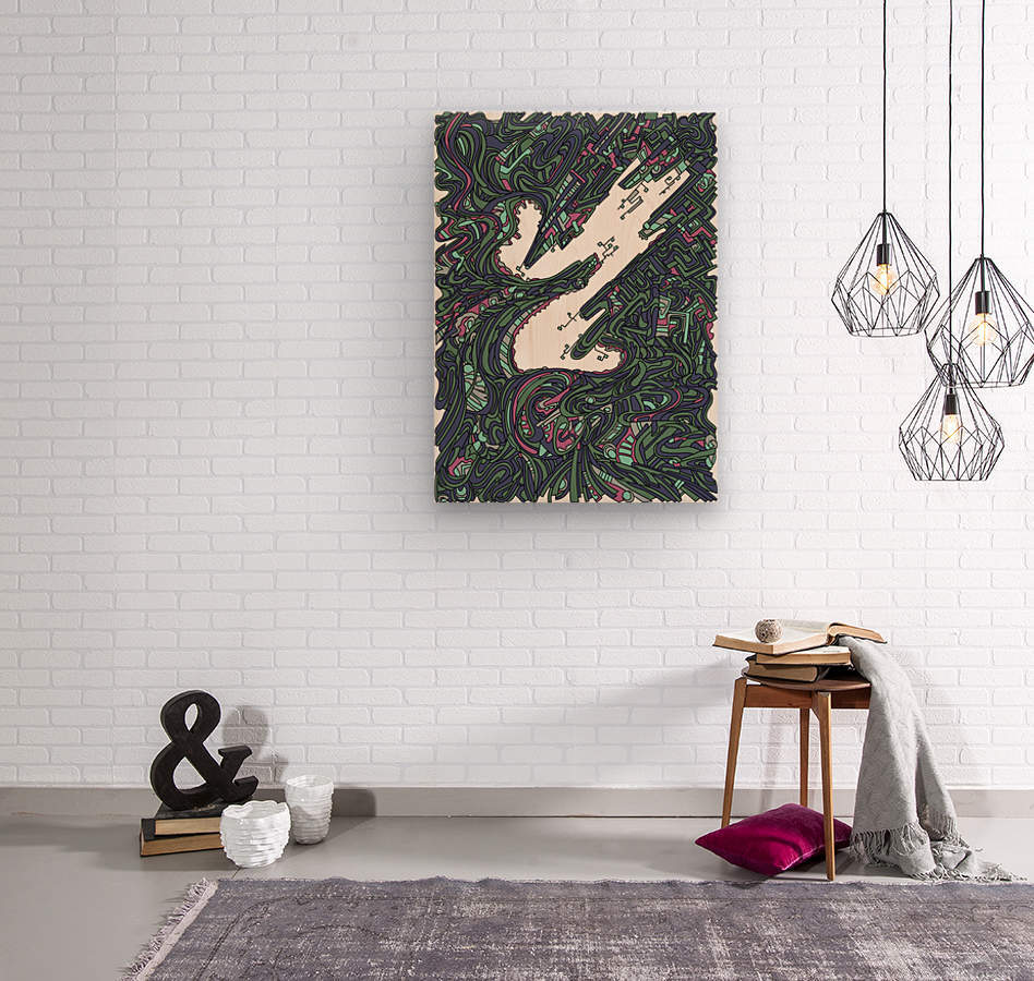 Wandering Abstract Line Art 05: Green  Wood print