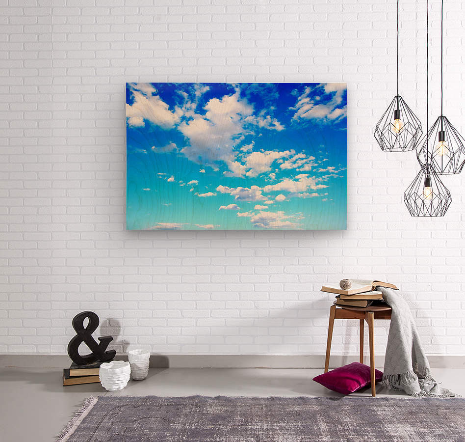 Bright Sky Blue with Clouds Colorful Scenic Background  Wood print