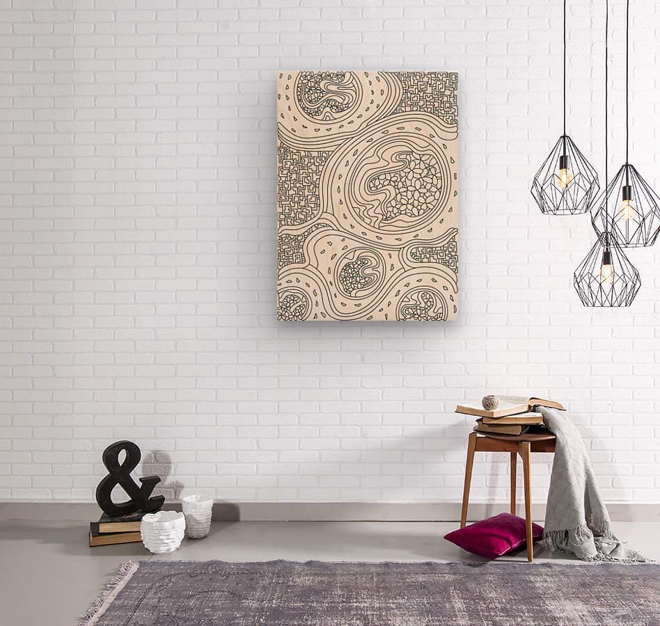 Wandering Abstract Line Art 06: Black & White  Wood print