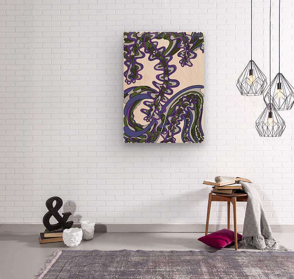 Wandering Abstract Line Art 07: Purple  Wood print