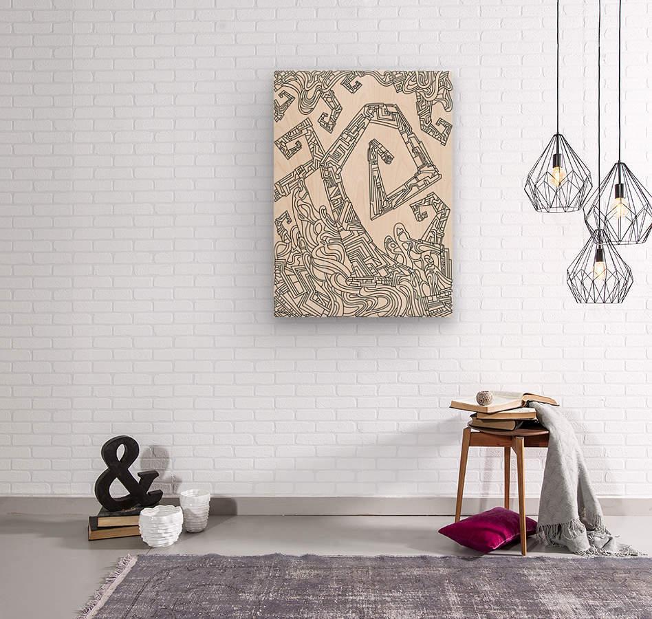 Wandering Abstract Line Art 08: Black & White  Wood print