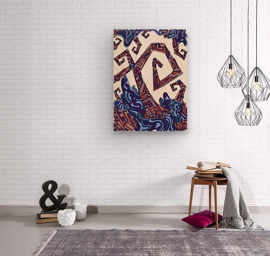 Wandering Abstract Line Art 08: Purple  Wood print