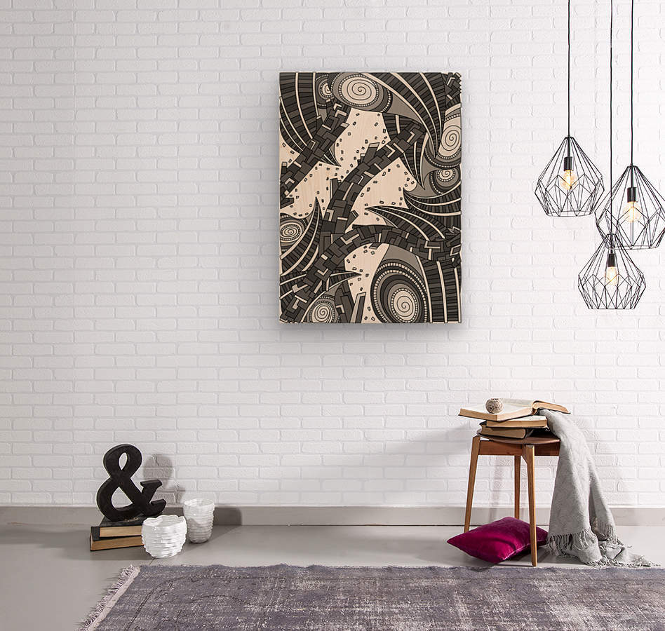 Wandering Abstract Line Art 10: Grayscale  Wood print