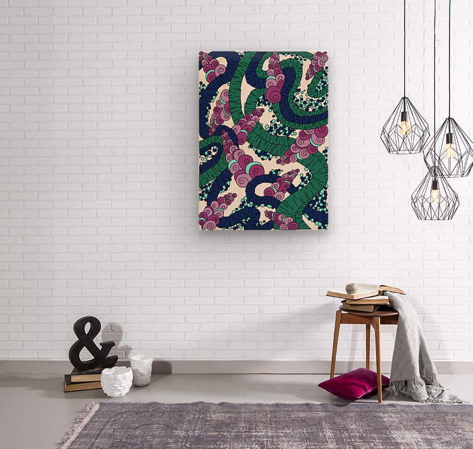 Wandering Abstract Line Art 13: Green  Wood print