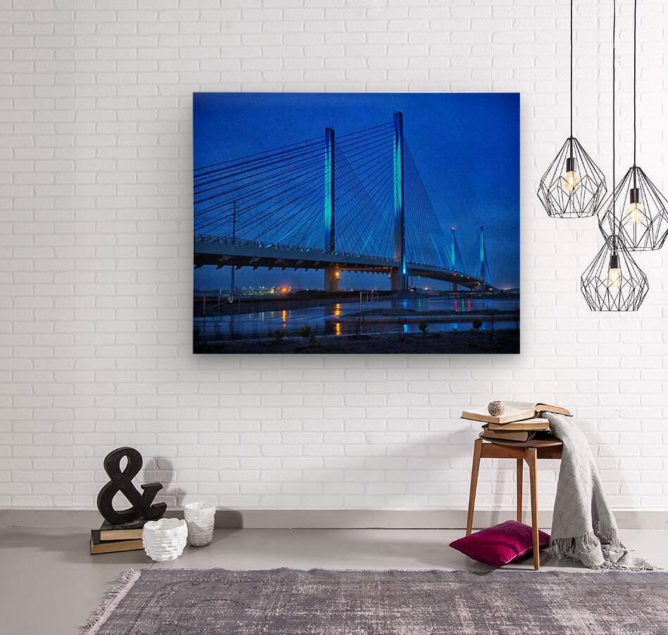 Blue Bridge In The Rain At Indian River Inlet  Wood print