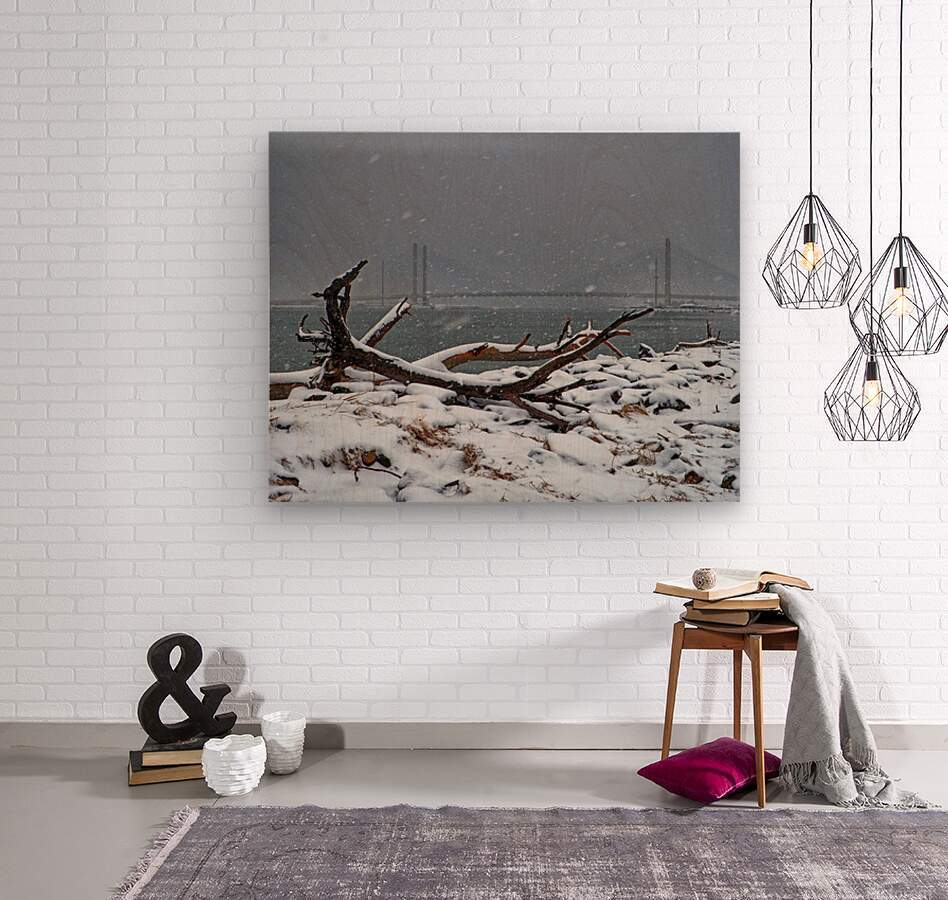 Indian River Bridge with Driftwood and Snow  Wood print