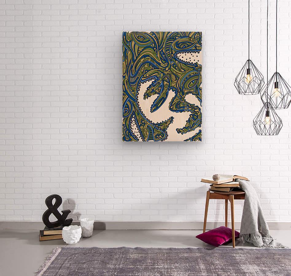 Wandering Abstract Line Art 17: Green  Wood print