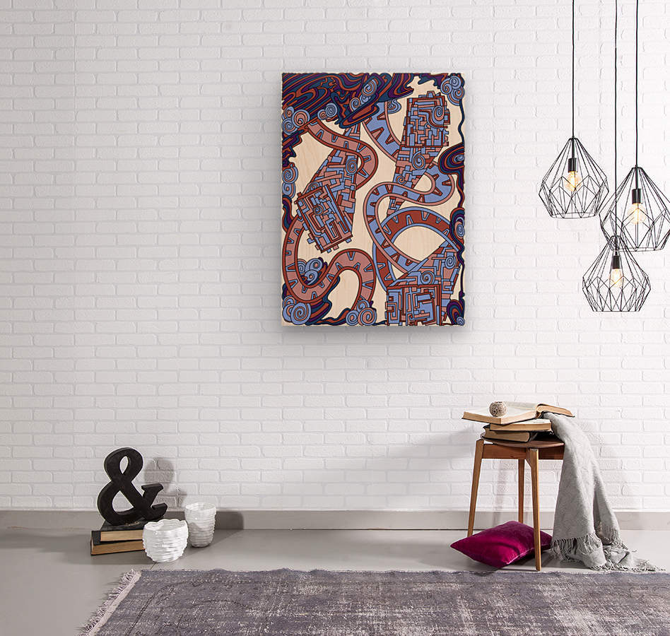 Wandering Abstract Line Art 24: Orange  Wood print