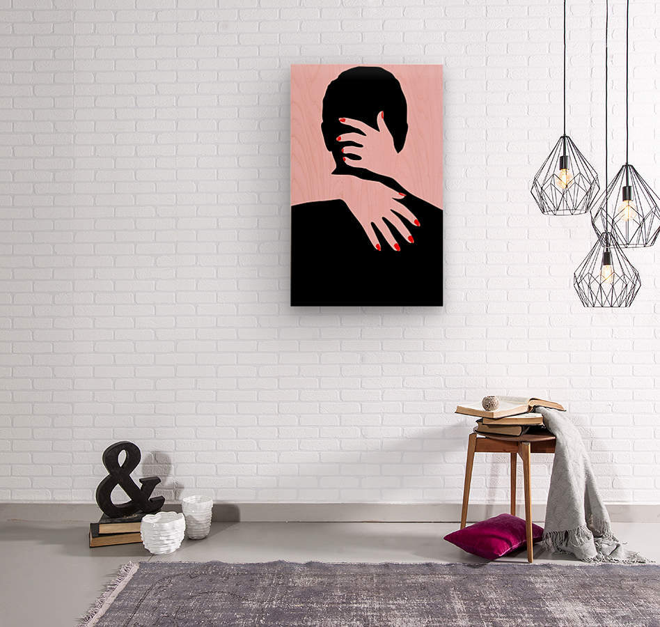 poster the hands embrace love  Wood print
