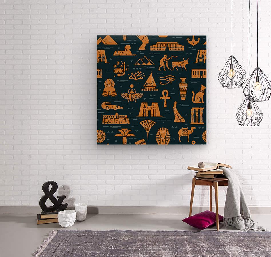 dark seamless pattern symbols landmarks signs egypt  Wood print