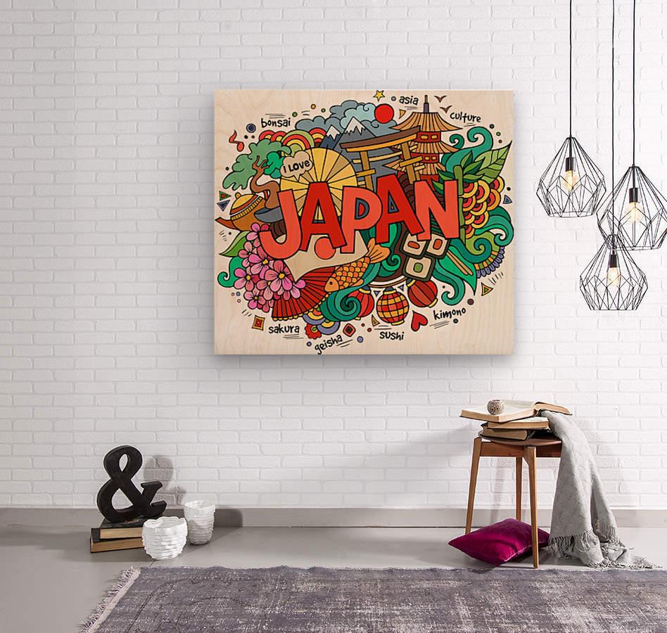 Earthquake and tsunami drawing japan illustration  Wood print