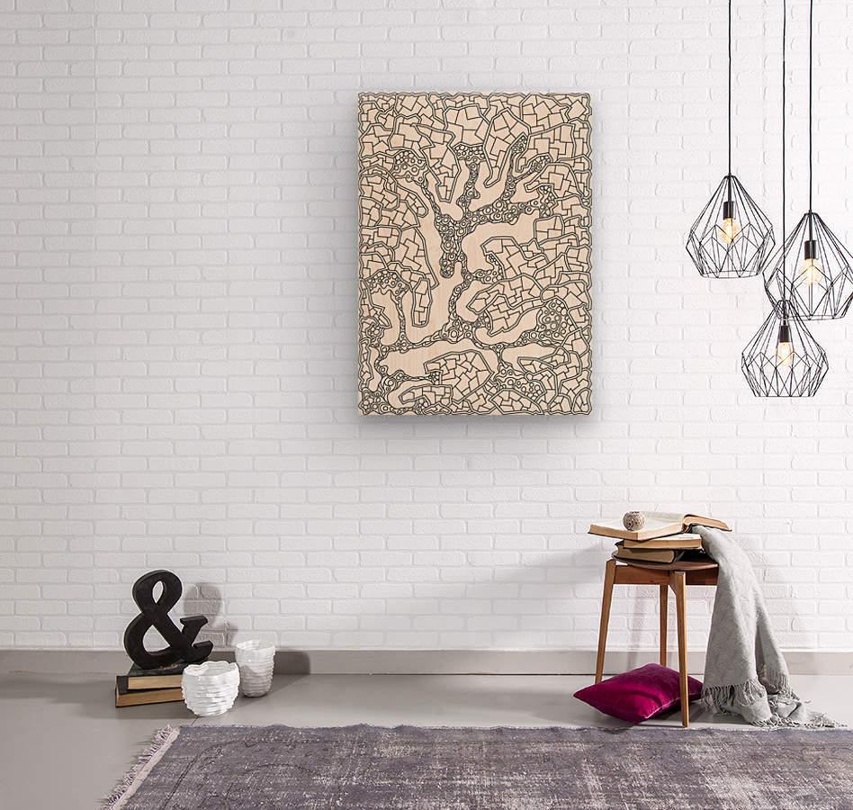 Wandering Abstract Line Art 40: Black & White  Wood print