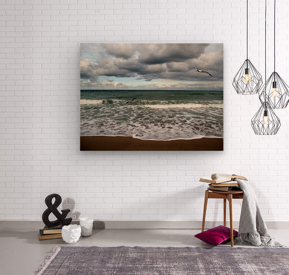 A sense of freedom by the beach  Wood print