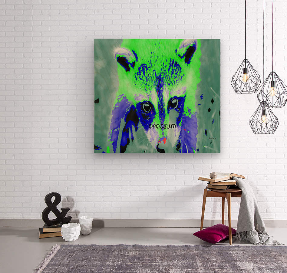 abstract Opossum  Wood print