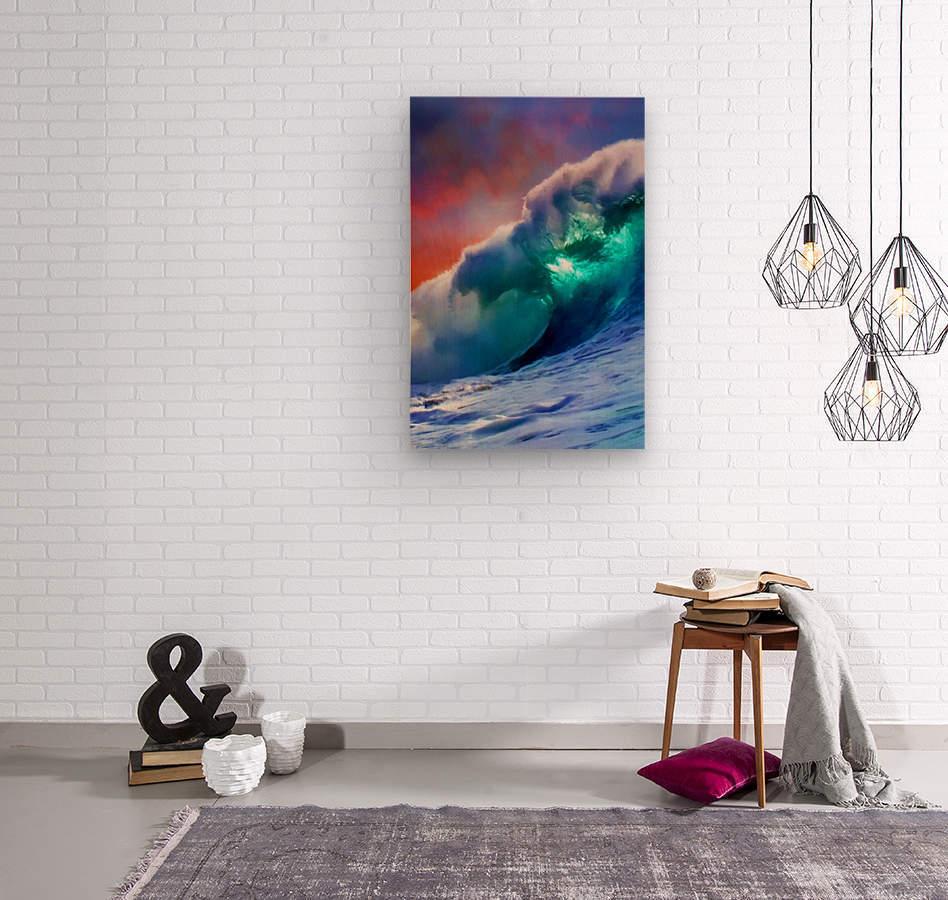 Sunset Wave  Wood print