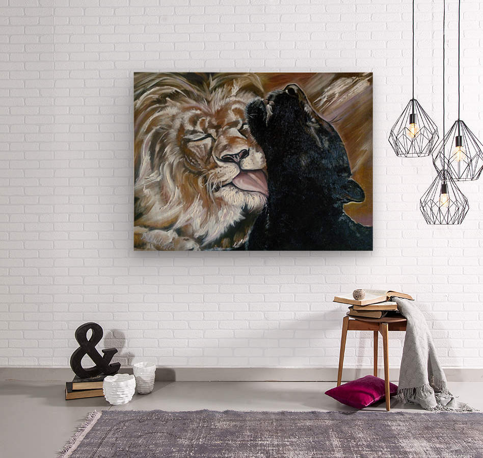 The Lion and the Panther  Wood print