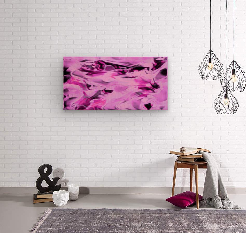 Pink Flamingo - pink grey black abstract swirl abstract wall art  Wood print