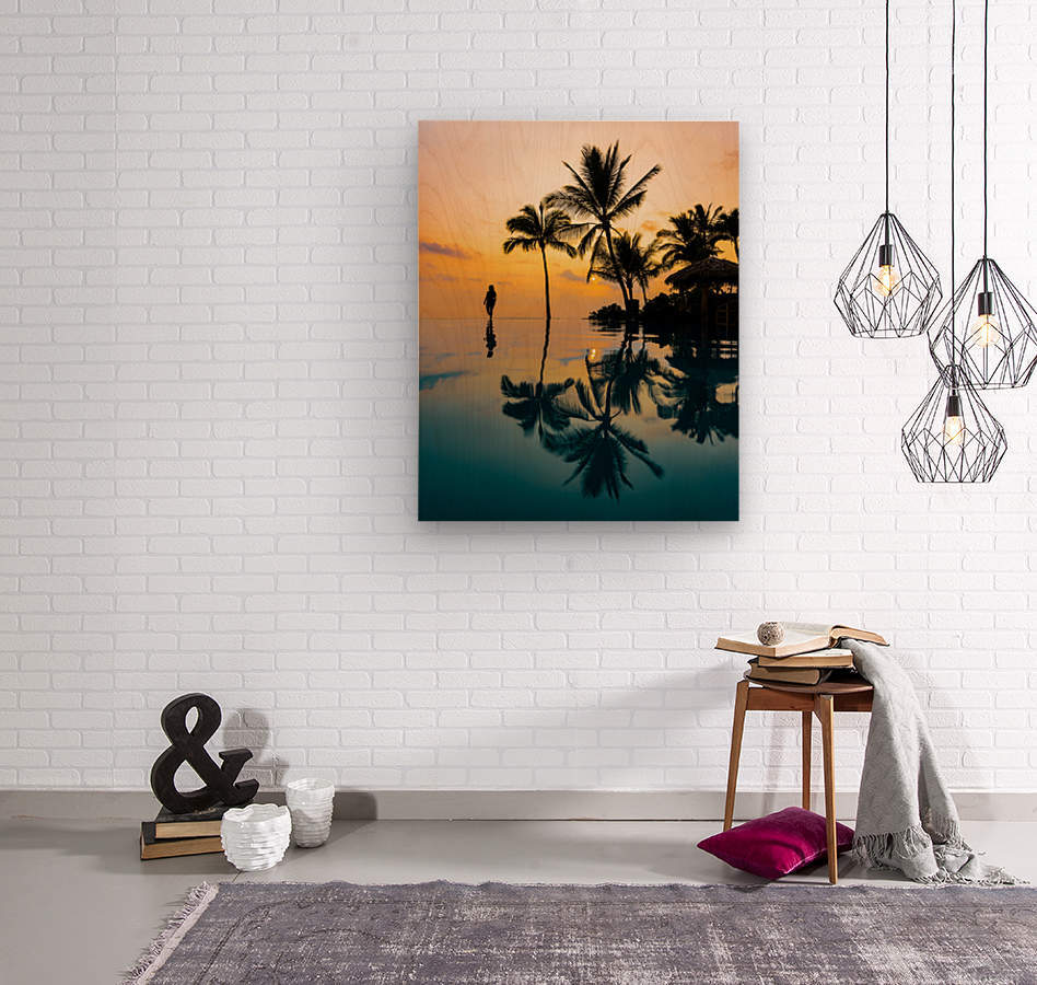 Relaxation Sunset  Wood print