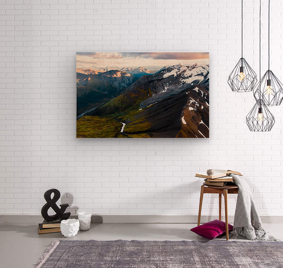 Mountains and Valleys  Wood print