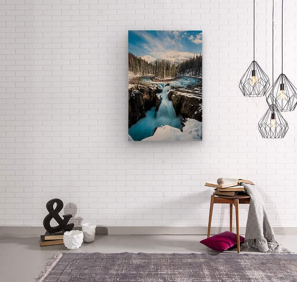Snowy Sunwapta Falls  Wood print