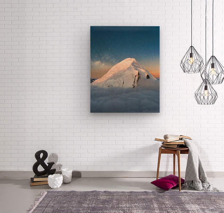 Starry Peak  Wood print