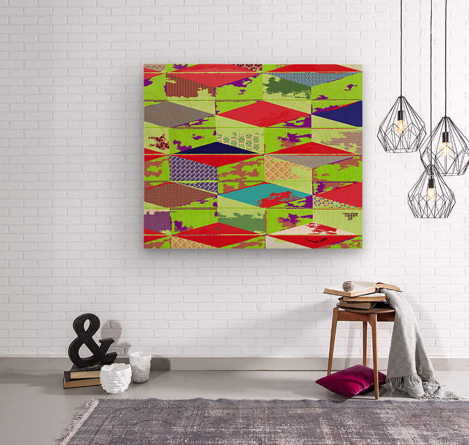 patchwork cubes by dePace  Wood print