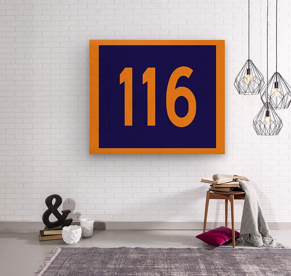 Number 116  Wood print